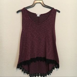 Tops - 2/$10 High Low Tank Top with Lace Details